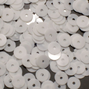 6mm Glossy White Flat Round Sequins x 15g